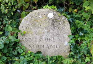Stone sign for Agglestone and Studland