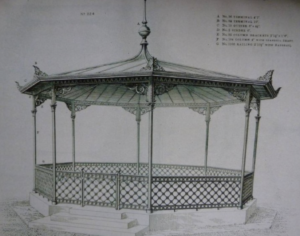 Archive drawing of the MacFarlane 224 bandstand installed in Swanage