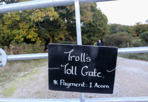Halloween troll sign in Arne Nature reserve