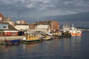 Vessels docked along Poole Quay