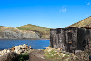 Wooden fishing hut on path to Chapman's Pool