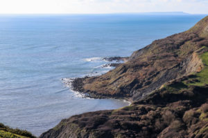 Looking down at the bays and sea from above Chapman's Pool