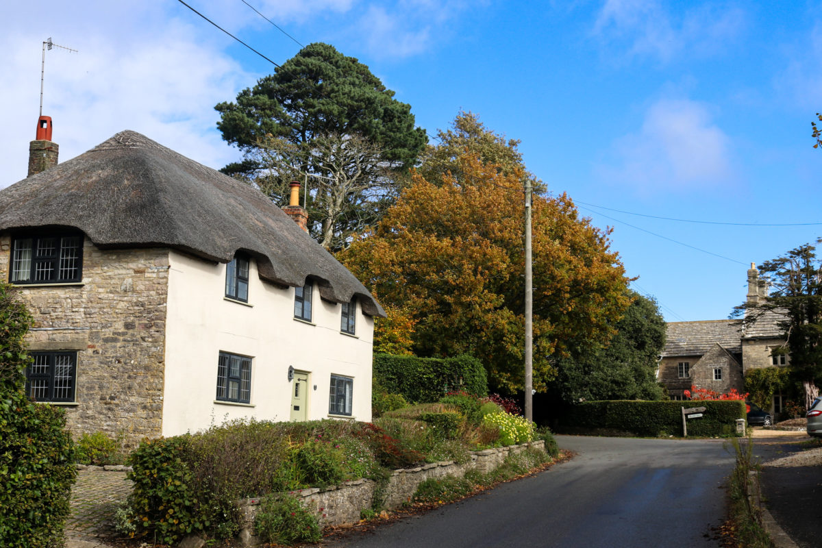Thatched cottage in Church Knowle with autumn trees