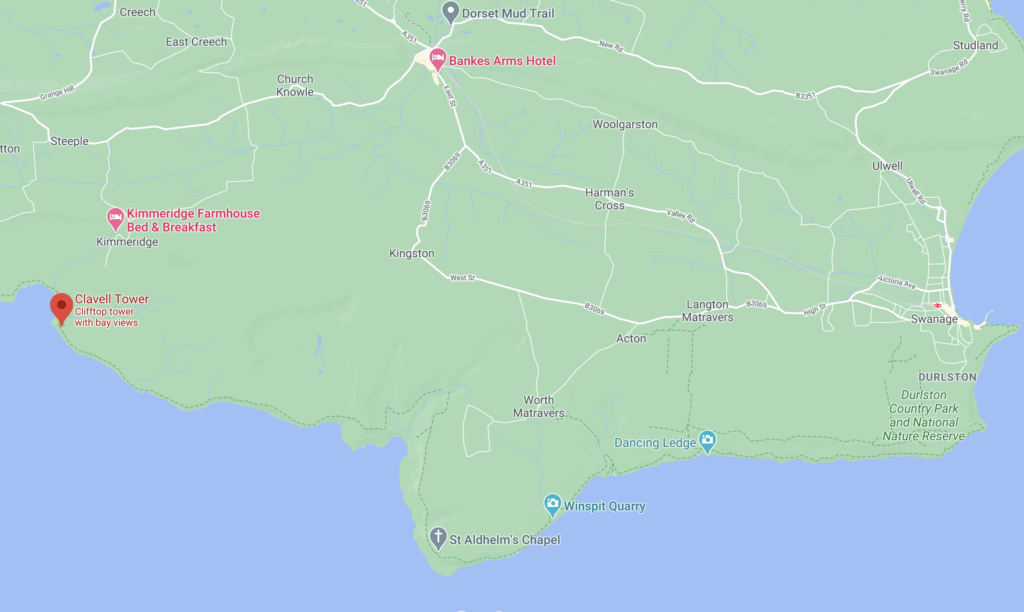 The position of Clavell Tower in Kimmeridge on Google Maps