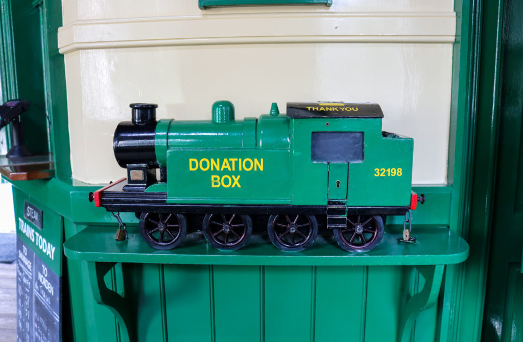 Corfe Castle railway station donation box