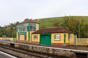 Corfe Castle station building and tracks