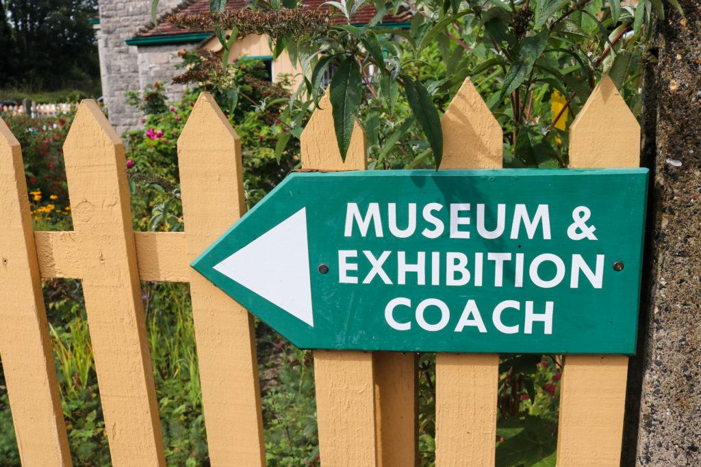 Corfe Castle station museum & exhibition coach sign