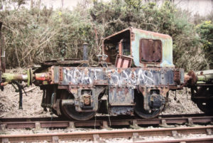 Photograph of the 'Beryl' engine of the Swanage Railway before restoration
