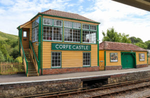 Corfe Castle railway station and tracks