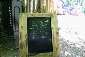 Welcome blackboard for coffee and a chat at The Shed, Durlston Country Park