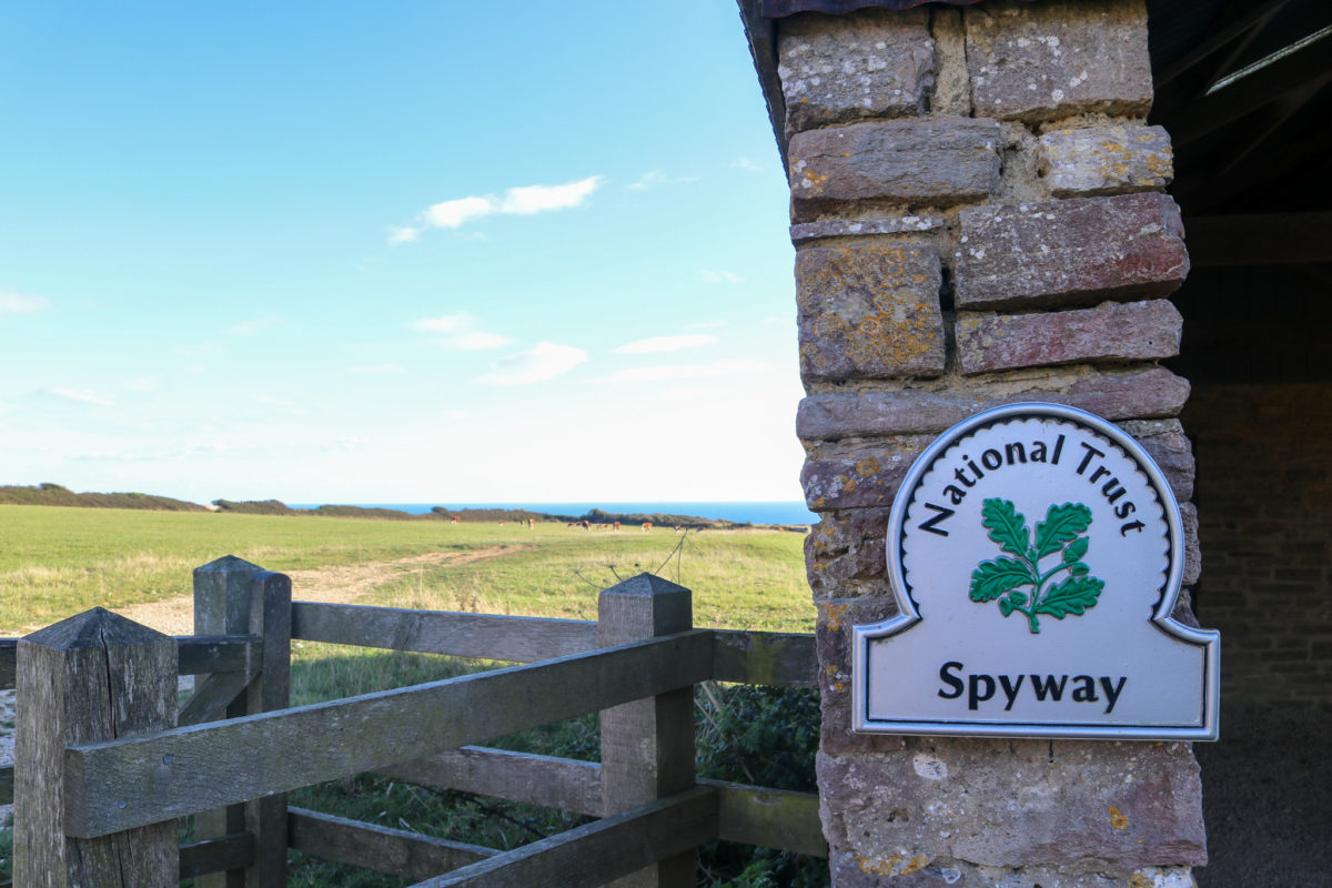 National Trust sign on side of Spyway Barn wall