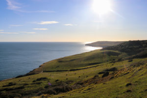 Hills and sea view from top of path to Dancing Ledge