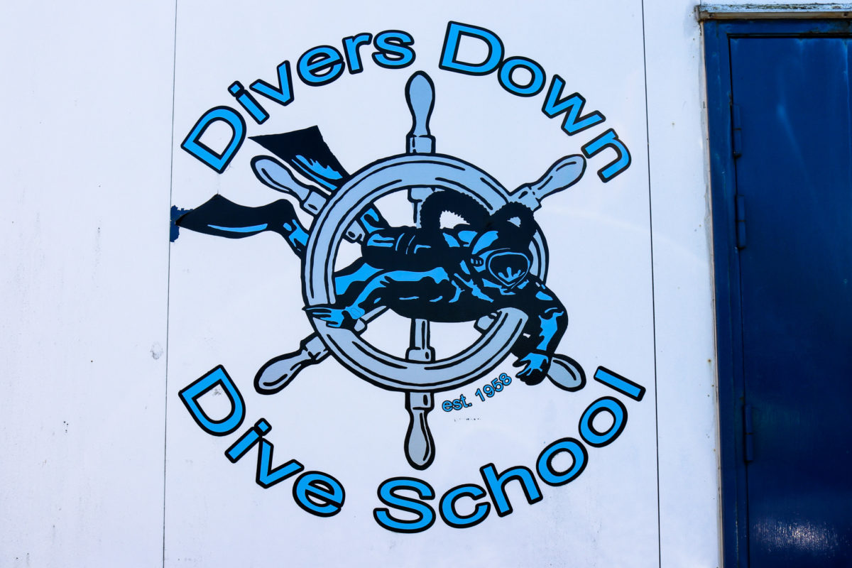 Dive school signage on Swanage Pier