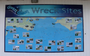 map of wreck sites at Divers Down in Swanage
