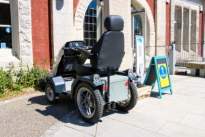 All-terrain mobility scooter, outside Durlston Castle