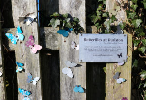 Butterfly art display outside Durlston Observatory