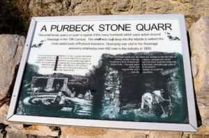 Purbeck stone quarr information board at Durlston, Swanage