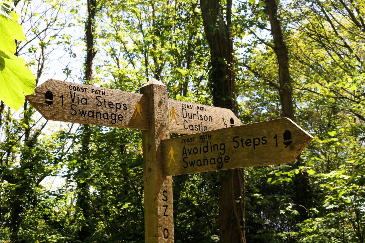 Durlston woodland avoiding steps sign