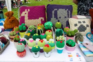 Handmade crochet items for sale at the Harman's Cross Field Day & Fayre