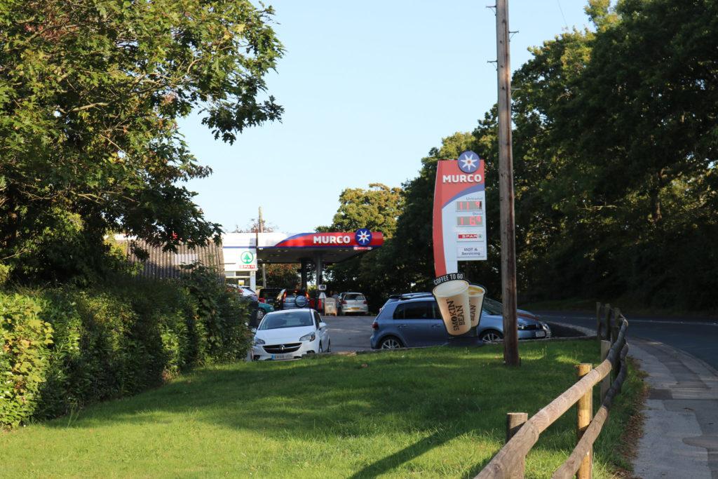 Cars outside Harman's Cross Murco petrol station
