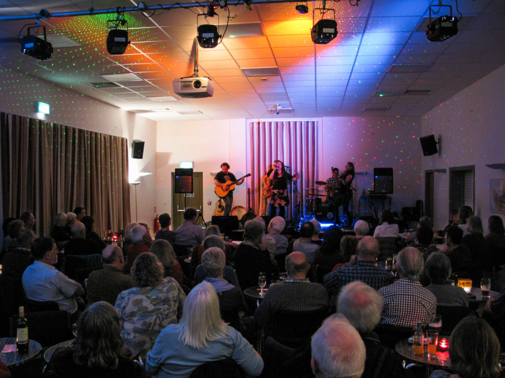 Mary Jane band performing at Harman's Cross village hall