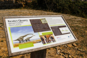 Keate's Quarry dinosaur tracks National Trust information board