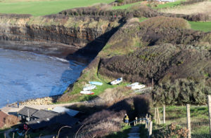 Kimmeridge boat park viewed from Clavell Tower's steps