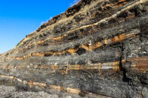 Layers of rock in Kimmeridge Bay cliffs