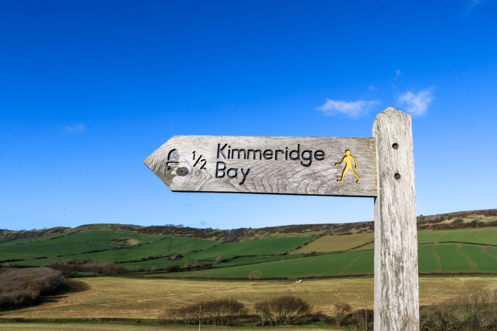Kimmeridge walking sign route from toll road