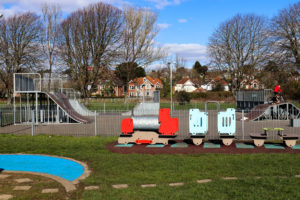 Train-shaped play equipment at King George's playing fields