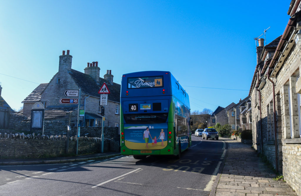 Purbeck BReezer no 40 bus in Langton Matravers