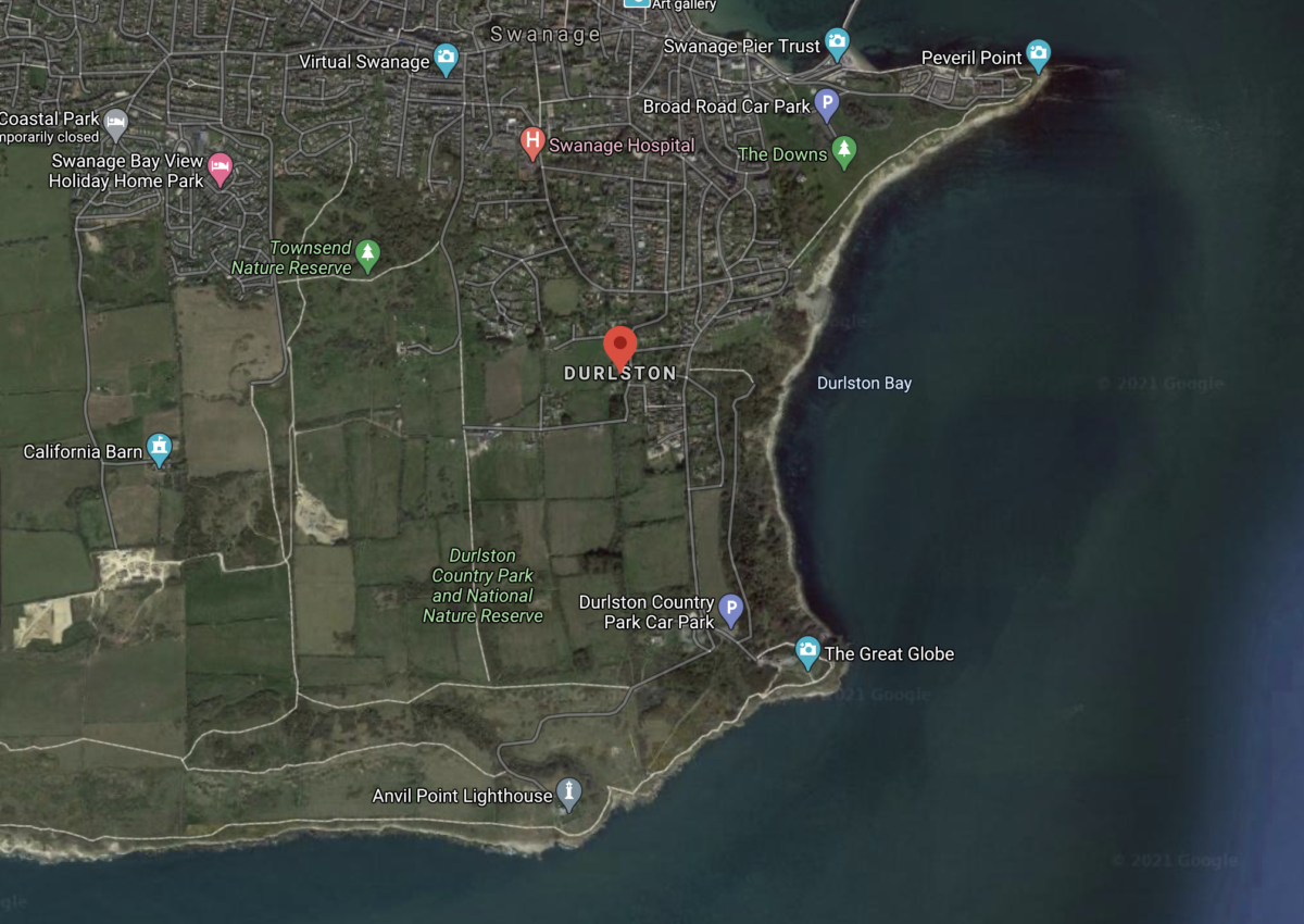 Features of Durlston Head and Bay on Google Maps