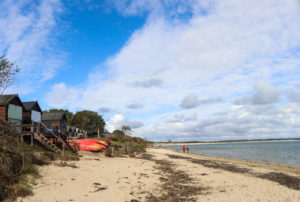 Couple walking along Middle Beach in Studland