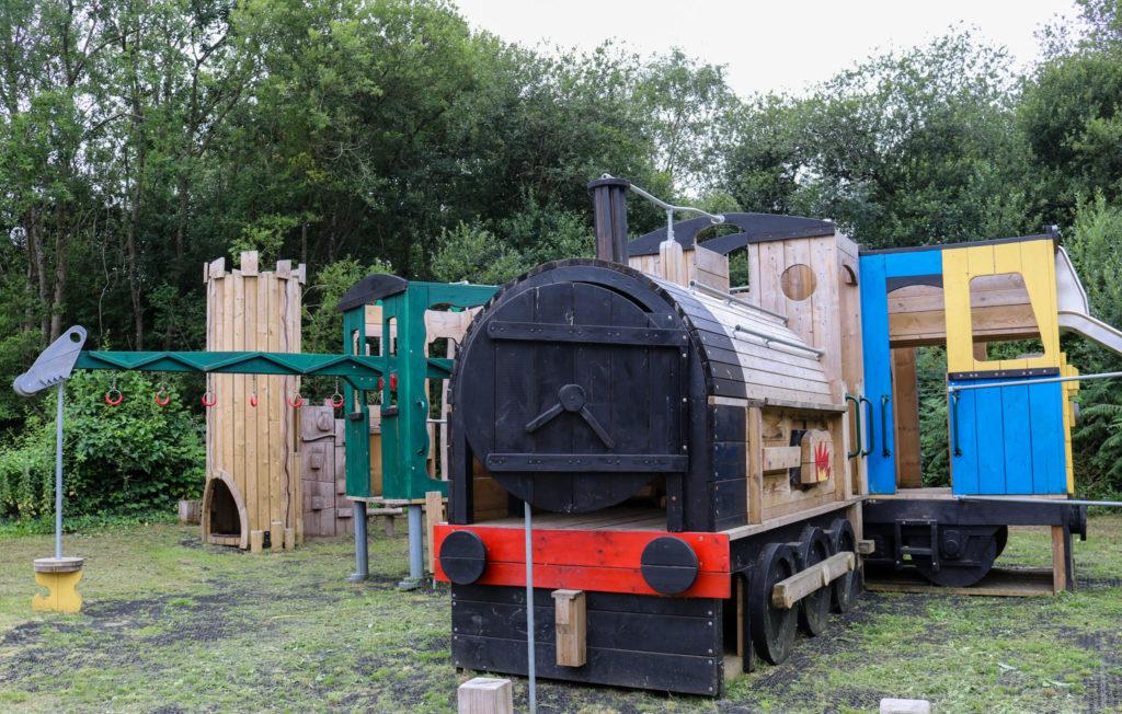 Steam train themed playground at Norden