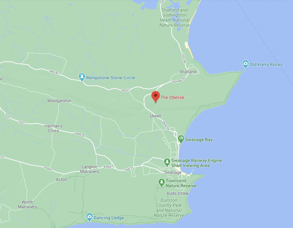 Location of the Swanage obelisk on Google Maps
