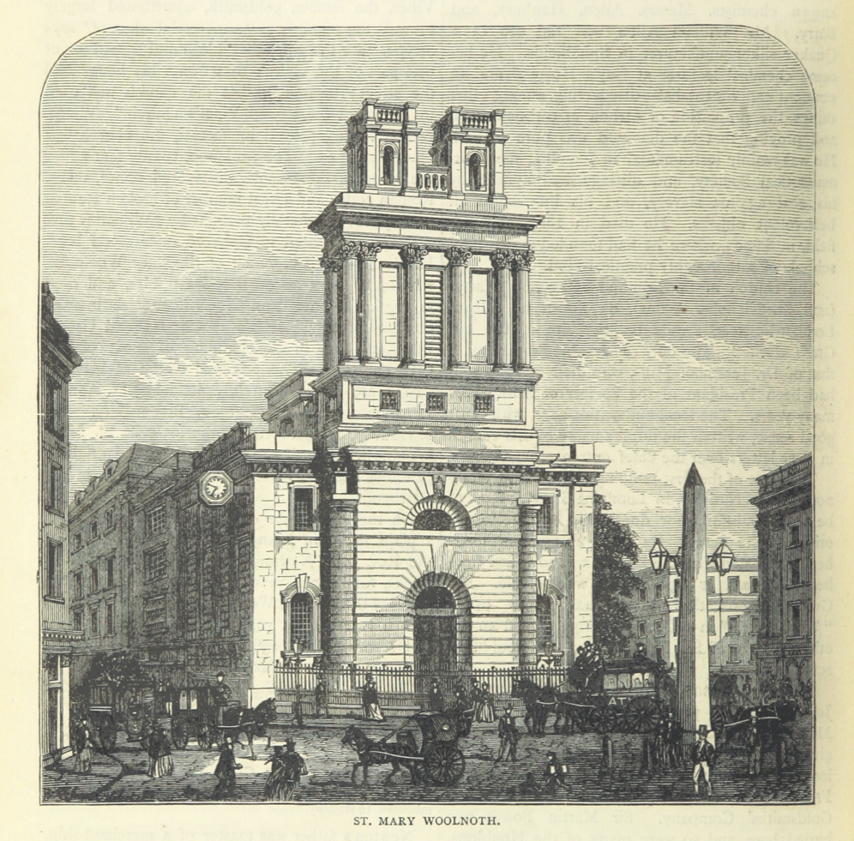 Illustration of the obelisk outside St Mary Woolnoth Church in London before being moved to Swanage