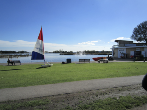 The lake and restaurant at Poole Park
