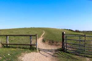 Gate on the Purbeck Hills leading to Nine Barrow Down
