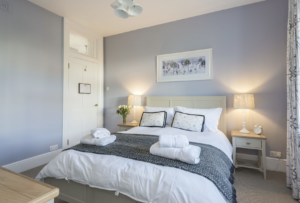 King-sized bedroom, Rowena Cottage, Durlston Country Park