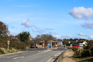 Sandbanks Ferry toll booths with cars waiting