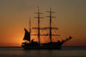 Sunset behind tallship