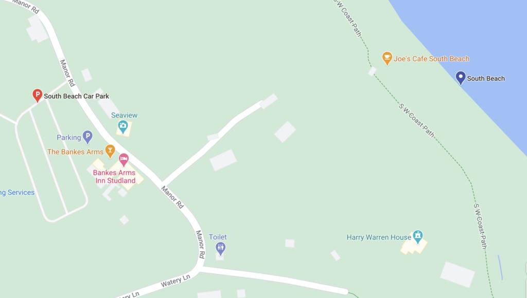 Screenshot google maps showing south beach Studland