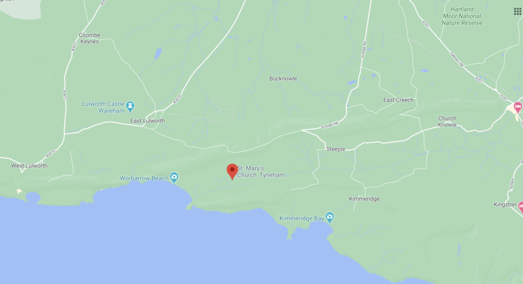 Google Maps screenshot of Tyneham in Dorset