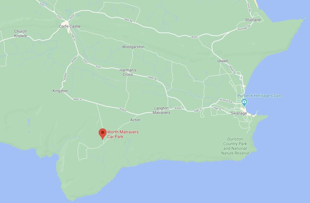 Screenshot of Google maps showing Worth Matravers location