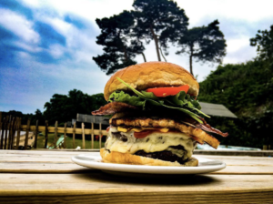 Burger stack at Joe's Cafe on South Beach in Studland