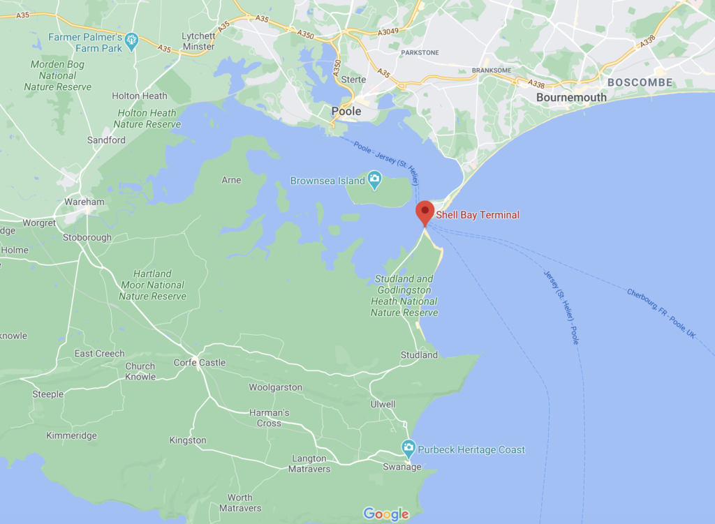 Screenshot Sandbanks ferry google Maps