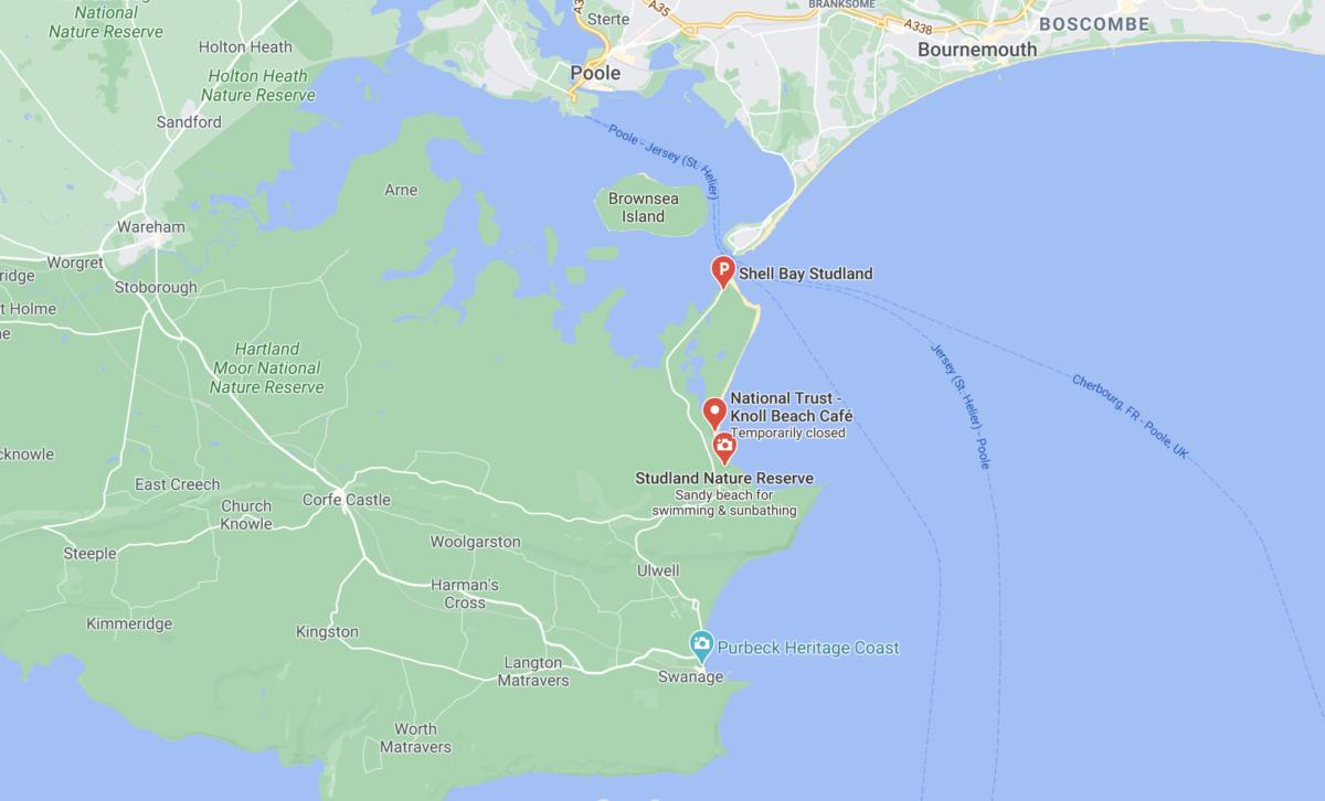 Knoll Beach in Studland's location on Google maps