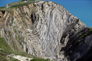 View of the strata of the Lulworth Crumple from next to Stair Hole