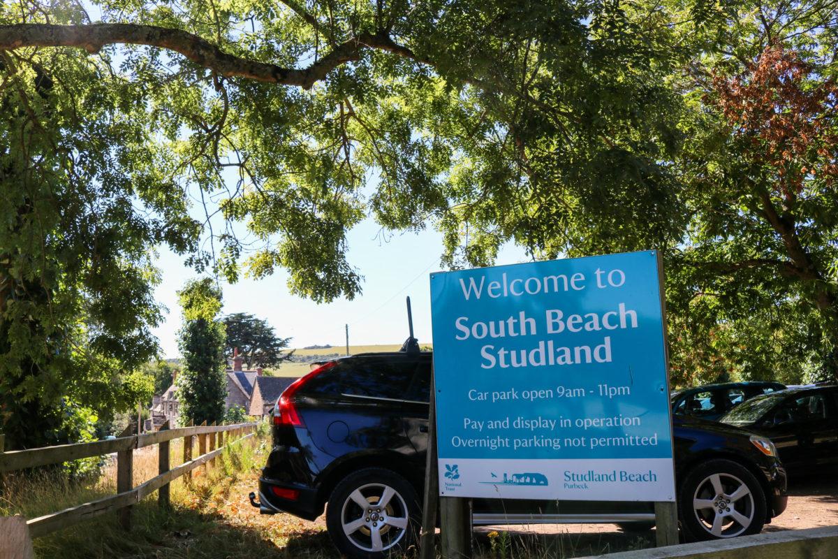 South Beach car park sign in Studland