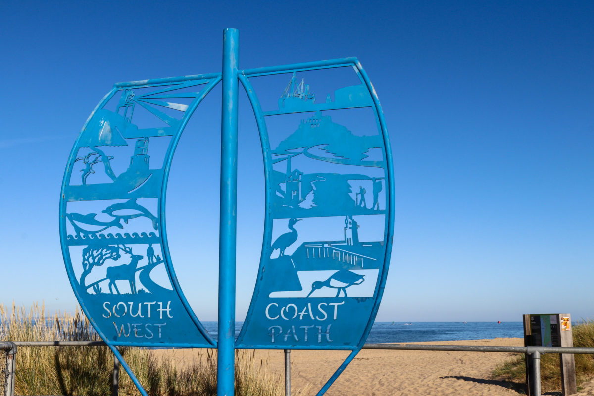 South West Coast Path sign at Shell Bay